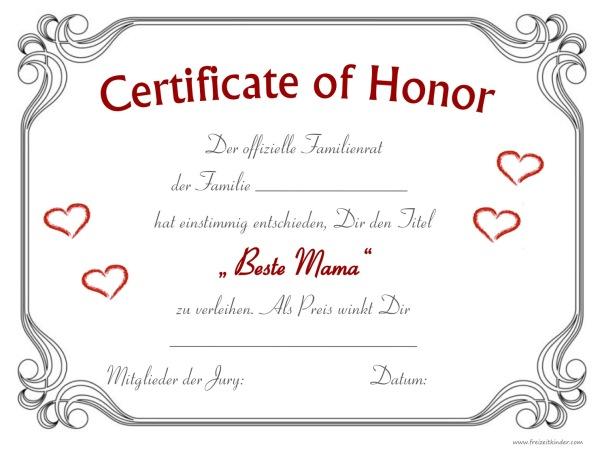 Urkunde zum Muttertag - Beste Mama